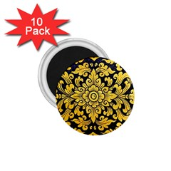 Flower Pattern In Traditional Thai Style Art Painting On Window Of The Temple 1.75  Magnets (10 pack)