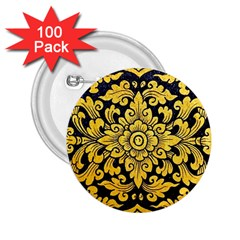 Flower Pattern In Traditional Thai Style Art Painting On Window Of The Temple 2 25  Buttons (100 Pack)