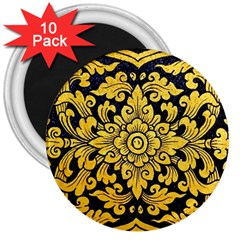 Flower Pattern In Traditional Thai Style Art Painting On Window Of The Temple 3  Magnets (10 pack)