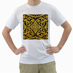 Flower Pattern In Traditional Thai Style Art Painting On Window Of The Temple Men s T Shirt (white) (two Sided)