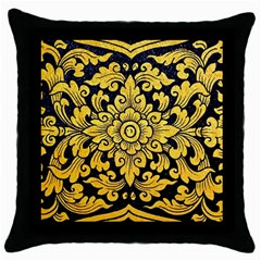 Flower Pattern In Traditional Thai Style Art Painting On Window Of The Temple Throw Pillow Case (Black)