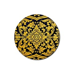 Flower Pattern In Traditional Thai Style Art Painting On Window Of The Temple Rubber Coaster (round)
