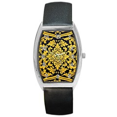 Flower Pattern In Traditional Thai Style Art Painting On Window Of The Temple Barrel Style Metal Watch