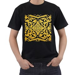 Flower Pattern In Traditional Thai Style Art Painting On Window Of The Temple Men s T Shirt (black) (two Sided)