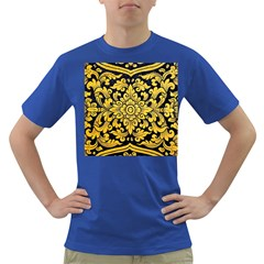 Flower Pattern In Traditional Thai Style Art Painting On Window Of The Temple Dark T Shirt