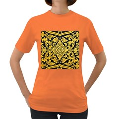 Flower Pattern In Traditional Thai Style Art Painting On Window Of The Temple Women s Dark T Shirt