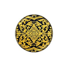 Flower Pattern In Traditional Thai Style Art Painting On Window Of The Temple Hat Clip Ball Marker