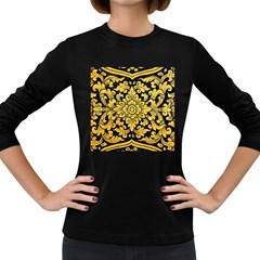 Flower Pattern In Traditional Thai Style Art Painting On Window Of The Temple Women s Long Sleeve Dark T Shirts
