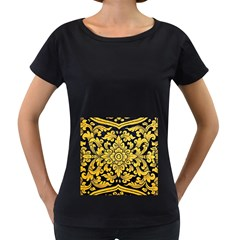 Flower Pattern In Traditional Thai Style Art Painting On Window Of The Temple Women s Loose-Fit T-Shirt (Black)