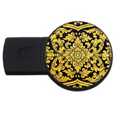 Flower Pattern In Traditional Thai Style Art Painting On Window Of The Temple Usb Flash Drive Round (4 Gb)