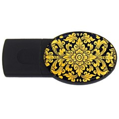 Flower Pattern In Traditional Thai Style Art Painting On Window Of The Temple Usb Flash Drive Oval (4 Gb)
