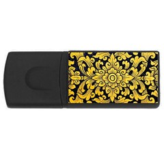 Flower Pattern In Traditional Thai Style Art Painting On Window Of The Temple USB Flash Drive Rectangular (4 GB)