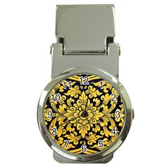 Flower Pattern In Traditional Thai Style Art Painting On Window Of The Temple Money Clip Watches