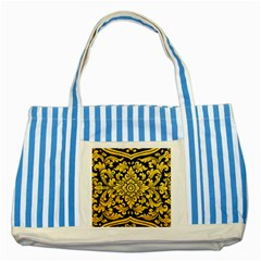 Flower Pattern In Traditional Thai Style Art Painting On Window Of The Temple Striped Blue Tote Bag