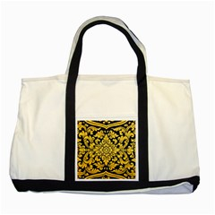 Flower Pattern In Traditional Thai Style Art Painting On Window Of The Temple Two Tone Tote Bag