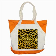 Flower Pattern In Traditional Thai Style Art Painting On Window Of The Temple Accent Tote Bag