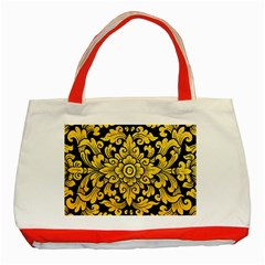 Flower Pattern In Traditional Thai Style Art Painting On Window Of The Temple Classic Tote Bag (red)