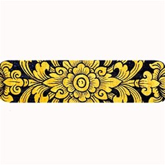Flower Pattern In Traditional Thai Style Art Painting On Window Of The Temple Large Bar Mats
