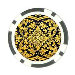 Flower Pattern In Traditional Thai Style Art Painting On Window Of The Temple Poker Chip Card Guard