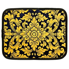 Flower Pattern In Traditional Thai Style Art Painting On Window Of The Temple Netbook Case (large)