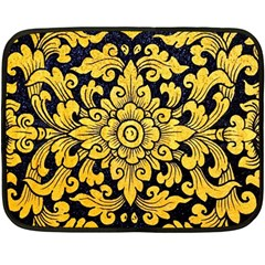 Flower Pattern In Traditional Thai Style Art Painting On Window Of The Temple Fleece Blanket (mini)