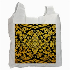 Flower Pattern In Traditional Thai Style Art Painting On Window Of The Temple Recycle Bag (one Side)