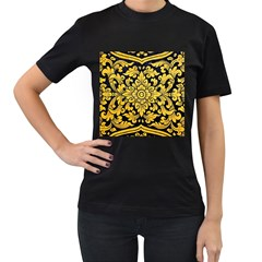 Flower Pattern In Traditional Thai Style Art Painting On Window Of The Temple Women s T Shirt (black)