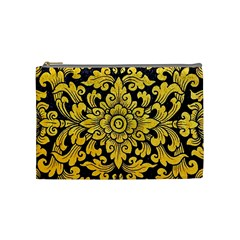 Flower Pattern In Traditional Thai Style Art Painting On Window Of The Temple Cosmetic Bag (medium)