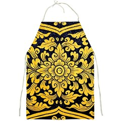 Flower Pattern In Traditional Thai Style Art Painting On Window Of The Temple Full Print Aprons