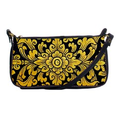 Flower Pattern In Traditional Thai Style Art Painting On Window Of The Temple Shoulder Clutch Bags