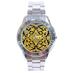Flower Pattern In Traditional Thai Style Art Painting On Window Of The Temple Stainless Steel Analogue Watch