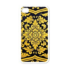 Flower Pattern In Traditional Thai Style Art Painting On Window Of The Temple Apple iPhone 4 Case (White)
