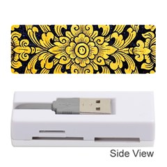 Flower Pattern In Traditional Thai Style Art Painting On Window Of The Temple Memory Card Reader (stick)