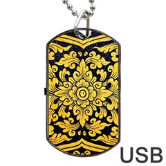 Flower Pattern In Traditional Thai Style Art Painting On Window Of The Temple Dog Tag Usb Flash (one Side)
