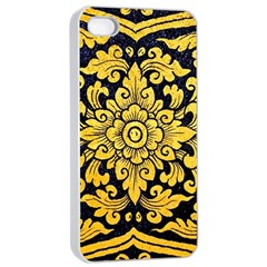 Flower Pattern In Traditional Thai Style Art Painting On Window Of The Temple Apple Iphone 4/4s Seamless Case (white)