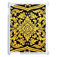 Flower Pattern In Traditional Thai Style Art Painting On Window Of The Temple Apple iPad 2 Case (White)