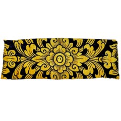 Flower Pattern In Traditional Thai Style Art Painting On Window Of The Temple Body Pillow Case (dakimakura)