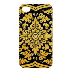 Flower Pattern In Traditional Thai Style Art Painting On Window Of The Temple Apple Iphone 4/4s Premium Hardshell Case