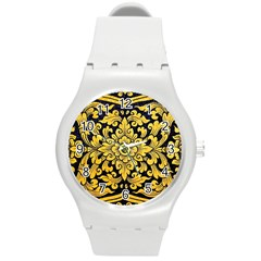 Flower Pattern In Traditional Thai Style Art Painting On Window Of The Temple Round Plastic Sport Watch (m)