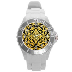Flower Pattern In Traditional Thai Style Art Painting On Window Of The Temple Round Plastic Sport Watch (L)