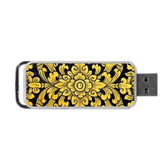 Flower Pattern In Traditional Thai Style Art Painting On Window Of The Temple Portable Usb Flash (two Sides)