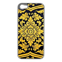 Flower Pattern In Traditional Thai Style Art Painting On Window Of The Temple Apple iPhone 5 Case (Silver)