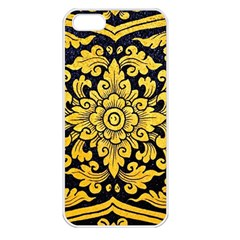 Flower Pattern In Traditional Thai Style Art Painting On Window Of The Temple Apple Iphone 5 Seamless Case (white)