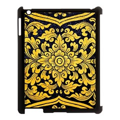Flower Pattern In Traditional Thai Style Art Painting On Window Of The Temple Apple iPad 3/4 Case (Black)
