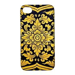 Flower Pattern In Traditional Thai Style Art Painting On Window Of The Temple Apple Iphone 4/4s Hardshell Case With Stand