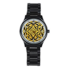 Flower Pattern In Traditional Thai Style Art Painting On Window Of The Temple Stainless Steel Round Watch