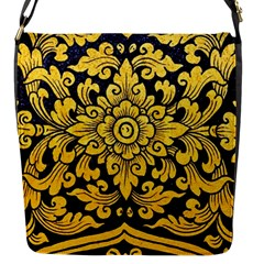 Flower Pattern In Traditional Thai Style Art Painting On Window Of The Temple Flap Messenger Bag (S)