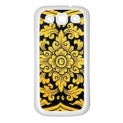 Flower Pattern In Traditional Thai Style Art Painting On Window Of The Temple Samsung Galaxy S3 Back Case (White)
