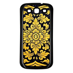 Flower Pattern In Traditional Thai Style Art Painting On Window Of The Temple Samsung Galaxy S3 Back Case (black)