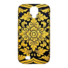 Flower Pattern In Traditional Thai Style Art Painting On Window Of The Temple Samsung Galaxy S4 Classic Hardshell Case (PC+Silicone)